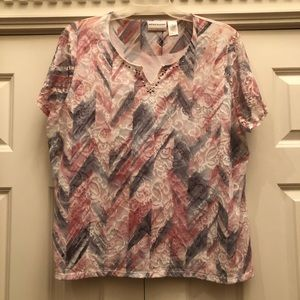 Alfred Dunner Lace Overlay Top
